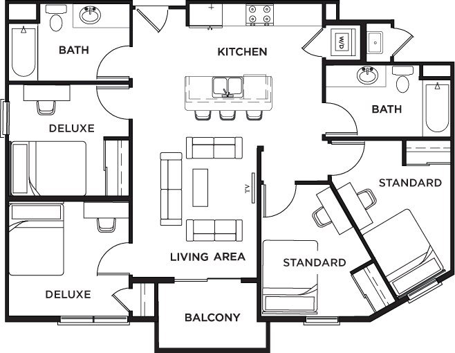 Floor plans icon plaza student apartments in los angeles ca for 4 bed 2 bath floor plans