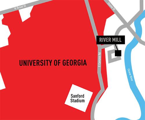 Close to the UGA campus.