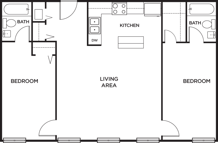 2 bedroom 2 bath apartment floor plans gurus floor for Two bedroom garage apartment plans
