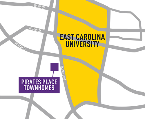 All this, just steps to the ECU campus.