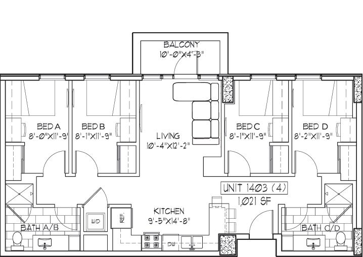 Floor Plans Landmark Student Apartments In Ann Arbor Mi