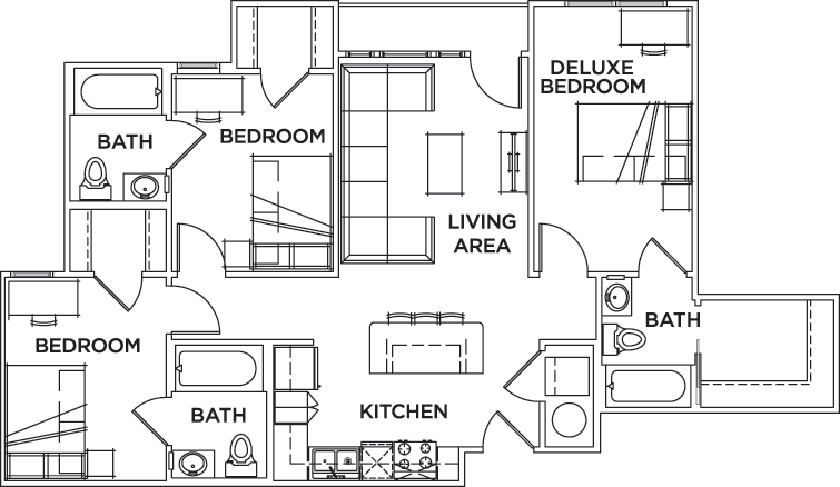 Floor plans campus edge on uta boulevard student for 3 bedroom apartments in arlington tx