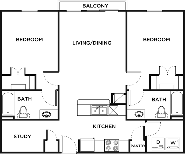 Floor plans 26 west student apartments in austin tx for Study bed plans