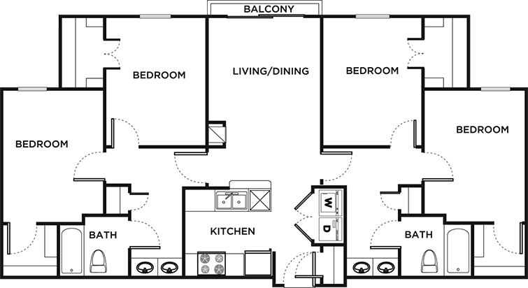 Floor plans 26 west student apartments in austin tx for Furnished 1 bedroom apartments austin tx